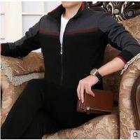 男士立领商务运动服套装外套棉大码运动套装男款休闲开衫立领