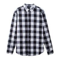 №【2019新款】冬天年轻人穿的格子衬衫男长袖休闲黑白格子衫磨毛红色衬衣