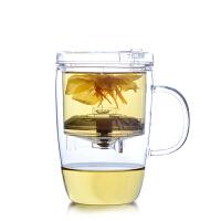 尚明分体式台湾飘逸杯泡茶壶耐热玻璃茶具自动全过滤内胆花茶透明茶杯 S002 400ML