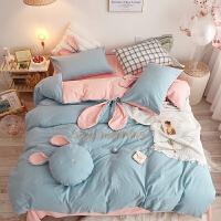 儿童水洗棉四件套全棉纯棉女孩被套公主风床单被子三件套床上用品 2.0米床适合被子220*240cm 套件+抱枕