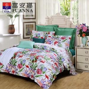 [当当自营]新品上市富安娜家纺 四件套纯棉斜纹床品双人花卉套件 绿色-河畔晚风1.5米(5英尺)床