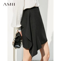 Amii极简欧货港味时尚半身裙2019春季新款高腰直筒拉链百搭短裙