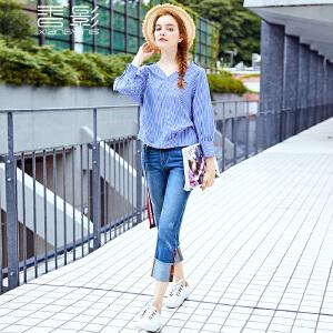 香影条纹衬衫女 2017秋装新款时尚刺绣钉珠v领上衣百搭长袖衬衣潮
