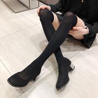 过膝长靴弹力靴子女2019秋款黑色百搭袜靴粗跟水钻网红瘦瘦靴 黑色