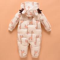 婴幼儿羽绒服连体衣男女宝宝加厚冬装外出衣服新生儿抱衣哈衣爬服