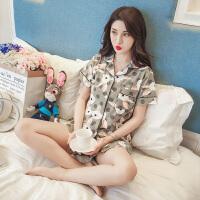 睡衣女夏季韩版清新学生冰丝可爱短袖纯棉家居服两件套装夏天宽松