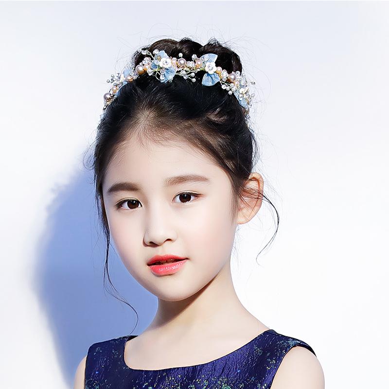 儿童头饰女童蓝色发饰发夹手工公主皇冠女孩发饰六一演出头饰