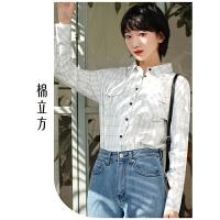 黑白格子衬衫女2019春季新款棉立方韩版时尚洋气潮长袖纯棉衬衣