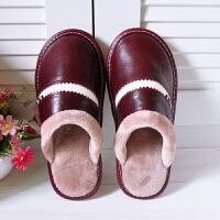冬季牛皮真皮拖鞋男居家软底毛绒皮棉拖女家用保暖室内地板防水鞋