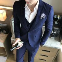 新款秋季男士休闲正装条纹西服套装新郎结婚韩版修身小西装潮