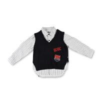 男童衬衫长袖秋装儿童衬衣马甲针织毛衣背心毛线条纹