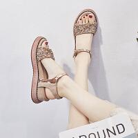 凉鞋 女士厚底水钻松糕鞋2020夏季新款韩版时尚女式休闲百搭学生罗马鞋女鞋坡跟鞋