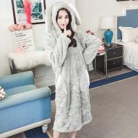公主风珊瑚绒睡衣女冬季韩版卡通学生甜美可爱法兰绒睡裙家居服秋 兔耳朵绒裙 -灰色
