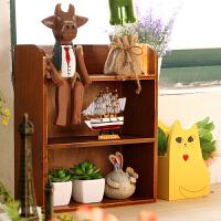 复古木质桌面化妆品收纳盒办公桌整理盒 创意浴室厨房置物架