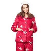 冬季睡衣女珊瑚绒夹棉三层加棉保暖可爱长袖家居服套装