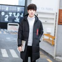 男士外套冬季2018新款中长款棉衣韩版潮流羽绒大码加厚棉袄子 8001黑色 M