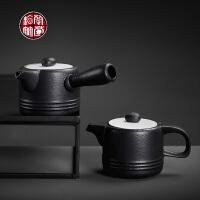 粗陶日式功夫小茶壶仿古侧把壶陶瓷单个小号家用加厚耐热复古单壶