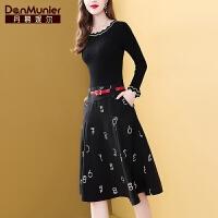 丹慕妮尔黑色针织拼接连衣裙女秋装2019年新款假两件长袖毛衣裙子