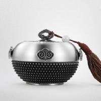 高档商务礼品纯锡茶叶罐马来西亚锡器如意四方创意定制logo送客户 图片色