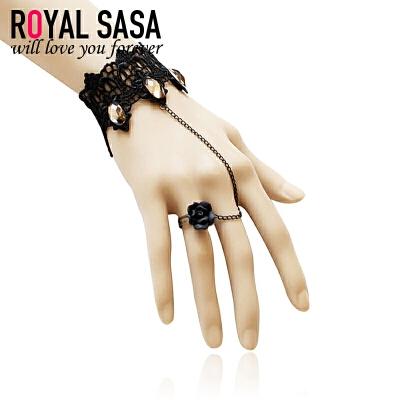 皇家莎莎RoyalSaSa欧美复古宫廷黑色蕾丝手链戒指一体套装-语笑嫣然 秋冬上新