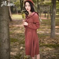 顶瓜瓜睡裙女秋季连衣裙长袖中长裙女士格子长裙