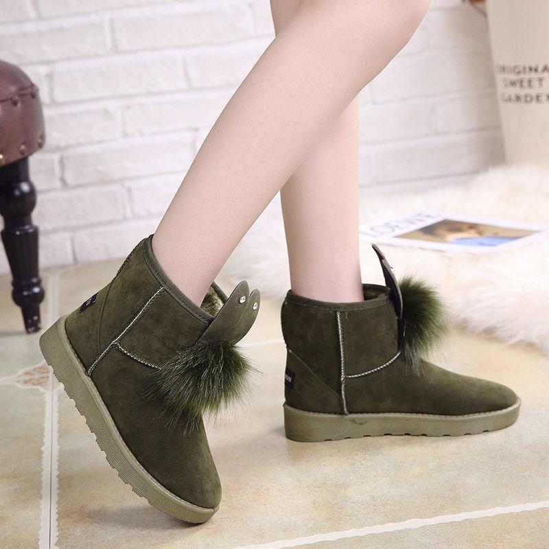 冬季兔耳朵毛毛球雪地靴女加绒加棉保暖短靴平底绒面冬靴短筒棉鞋  37 偏小一码