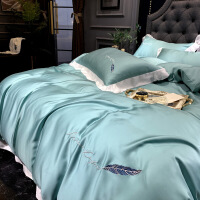 【人气】夏季80支床上双面天丝四件套裸睡亲肤冰丝滑床单床笠网红款被套 湖蓝色 巴黎绿(羽毛款)