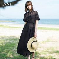 Amii[极简主义]2017夏装新款宽松翻领腰带插袋短袖连衣裙11792740