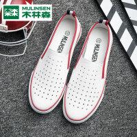 木林森一脚蹬懒人乐福鞋夏女鞋镂空透气女式单鞋韩版学生平底板鞋