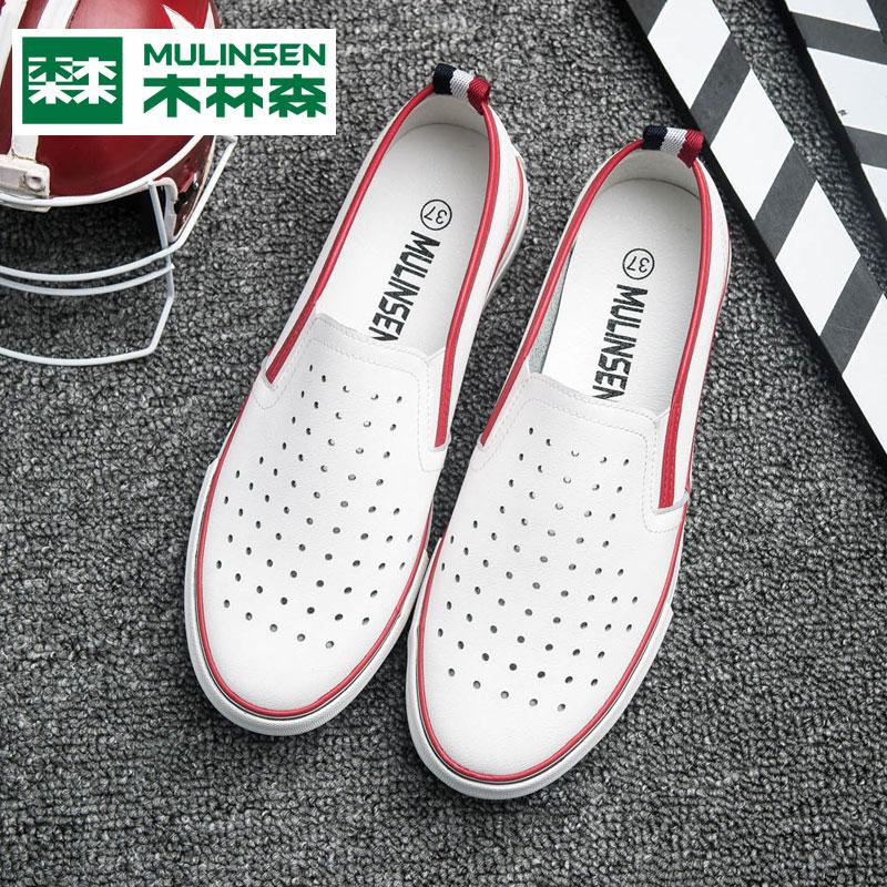 木林森一脚蹬懒人乐福鞋夏女鞋镂空透气女式单鞋韩版学生平底板鞋冲孔透气夏季女鞋