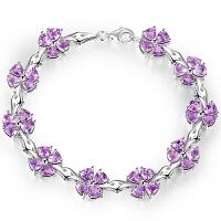 女款四叶草手链天然紫水晶时尚银饰品首饰