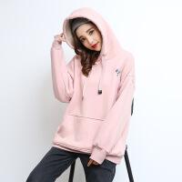 羊羔绒卫衣女加绒加厚宽松连帽套头上衣韩版粉色大码外套保暖冬季