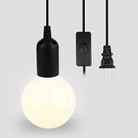 【好货优选】灯头带线E27螺口用灯泡电源线灯座带二头插带开关线1.7米 1.8米带开关灯头座【100瓦内适用】