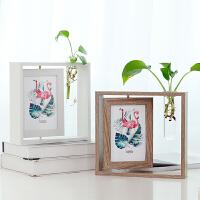 欧式创意木质相框摆台6寸照片框简约客厅办公桌面水培装饰摆件