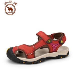 骆驼牌女鞋 夏季新款凉鞋 磨砂皮沙滩女凉鞋舒适耐磨透气