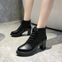 靴子女2019秋款欧美粗跟高跟短靴女春秋单靴时尚系带英伦马丁靴女 黑色