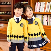 幼儿园园服春秋冬款英伦风毛衣男童校服套装