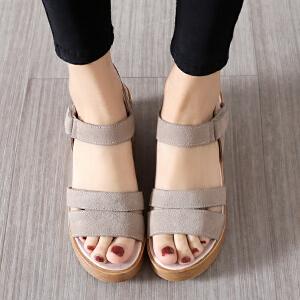 专柜新品【牛皮】坡跟凉鞋女魔术贴厚底学生女鞋休闲鞋Z17
