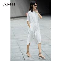 【AMII 超级品牌日】Amii[极简主义]2017夏装新宽松连肩袖抽绳收腰雪纺连衣裙11733081