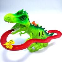 轨道男孩女楼梯男1-6岁儿童恐龙滑梯电动小火车轨道车爬楼梯玩具4