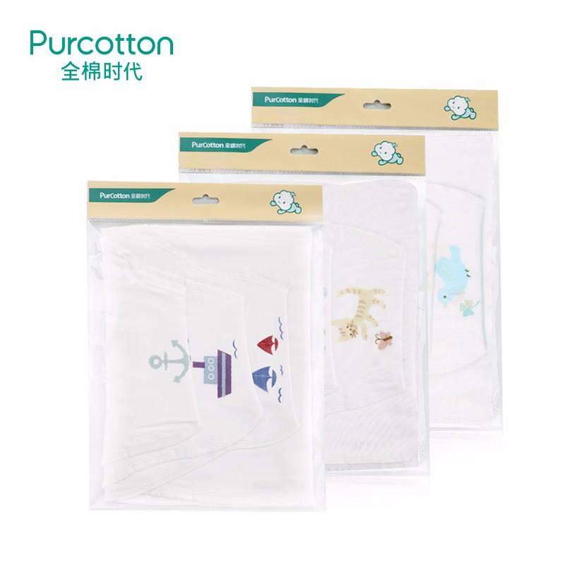 全棉时代   (小猫扑蝴蝶+小鹿和蝴蝶+小鸟和四叶草)纱布汗巾25x50cm 3条/袋