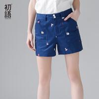 初语2017夏新款扑克牌卡通印花短裤 纯棉直筒裤女休闲学生热裤