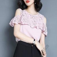 短袖雪纺衫女夏2018韩版时尚蕾丝拼接小衫仙气质心机上衣潮