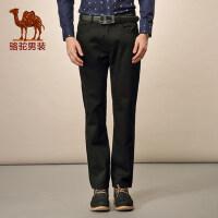 camel骆驼男装 春秋装中高腰长裤 黑色纯棉修身休闲裤 男长裤子