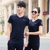 夏天情侣运动套装 跑步男女士运动服休闲套装健身卫衣服装