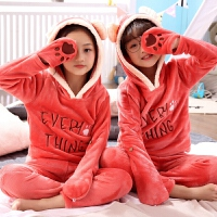 儿童睡衣秋冬季男童珊瑚绒中大女童小孩家居服宝宝套装