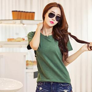 卡茗语夏装短袖V领纯棉新款韩版大码宽松t恤女竹节棉半袖T恤