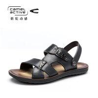 骆驼动感男凉鞋男潮夏季真皮新款牛皮韩版休闲鞋男士沙滩鞋