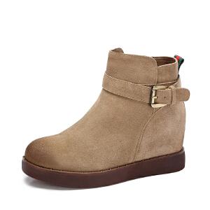 Camel/骆驼女靴 2017秋冬新款 英伦风圆头短筒靴内增高通勤女靴子