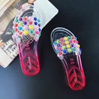 【夏季新款】韩版学生平底外穿家居浴室可爱水晶一字防滑女拖鞋